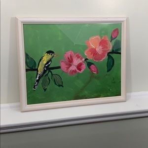 American Goldfinch & Flowers Acrylic Canvas Framed